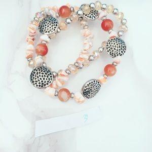 Jewelry - Peach Beaded Silver Tone Stretch Bracelets